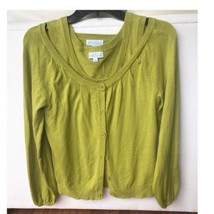 Joseph A Cardigan Sweater Twinset Green Sz Medium